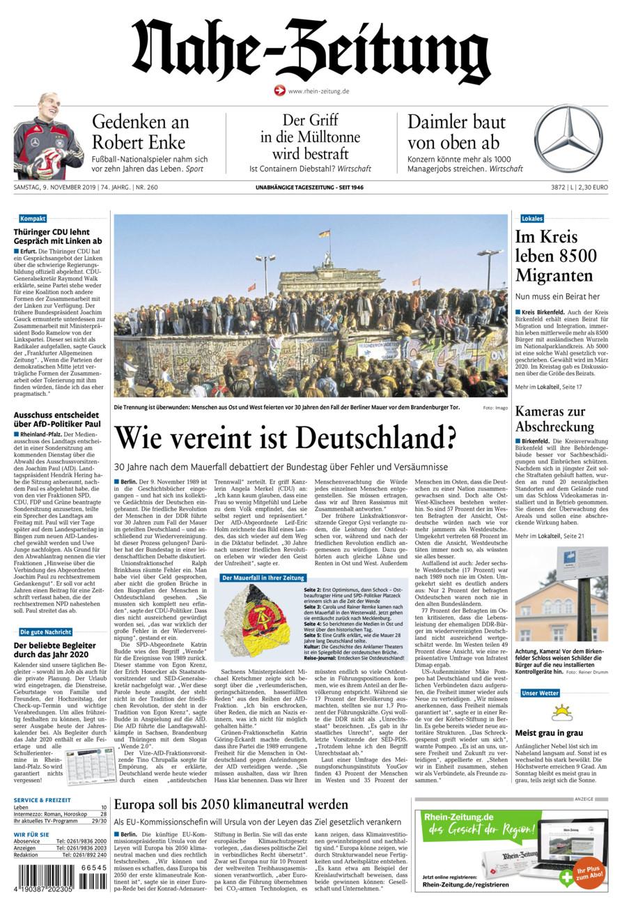 Nahe-Zeitung vom Samstag, 09.11.2019