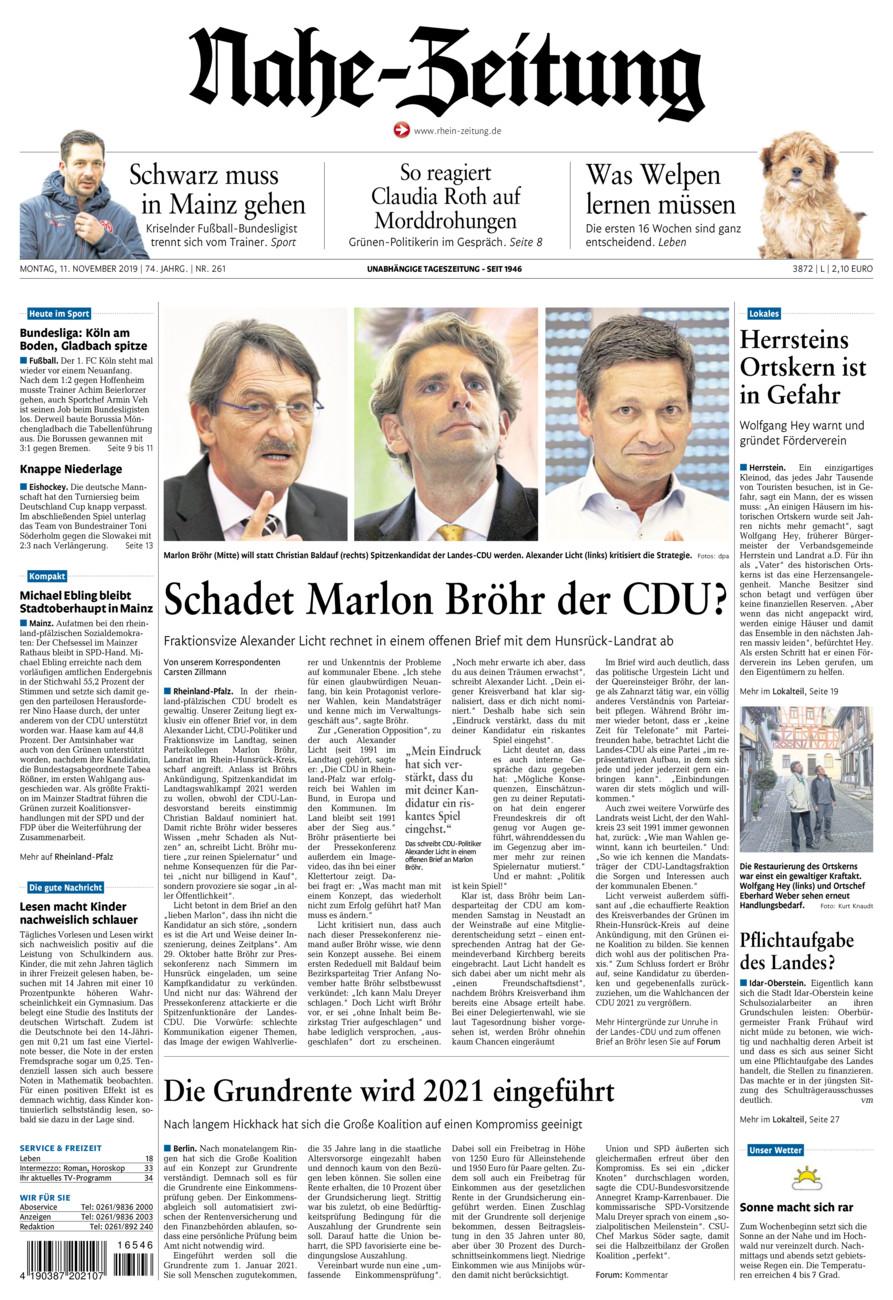 Nahe-Zeitung vom Montag, 11.11.2019