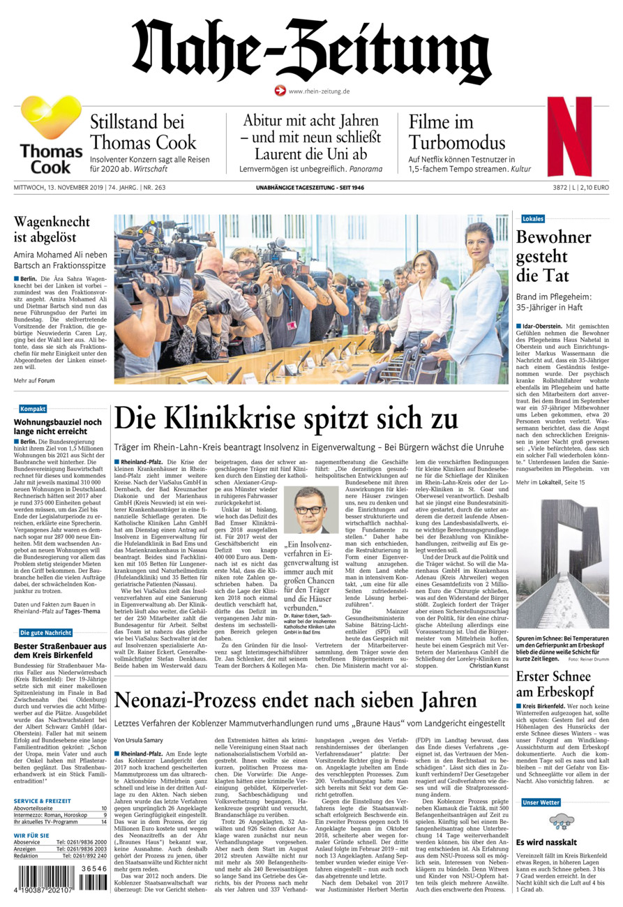 Nahe-Zeitung vom Mittwoch, 13.11.2019