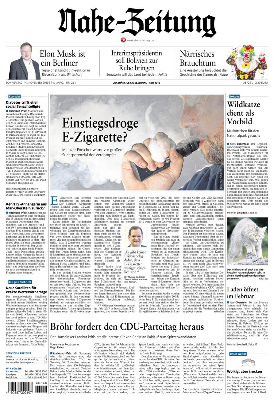 Nahe-Zeitung vom Donnerstag, 14.11.2019
