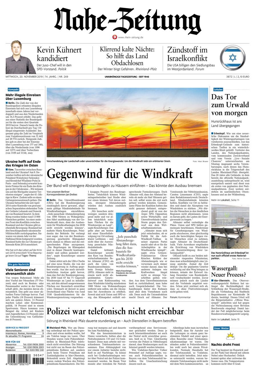 Nahe-Zeitung vom Mittwoch, 20.11.2019