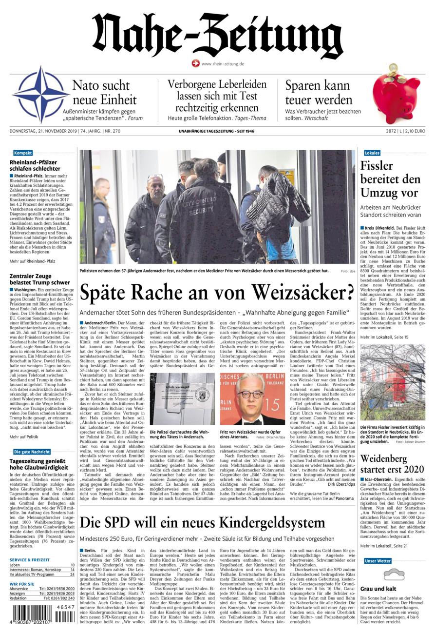 Nahe-Zeitung vom Donnerstag, 21.11.2019