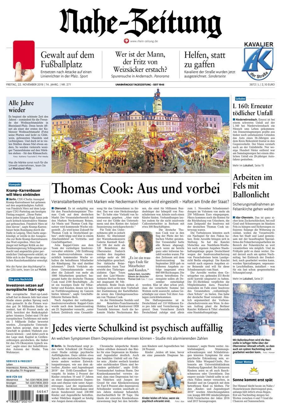 Nahe-Zeitung vom Freitag, 22.11.2019