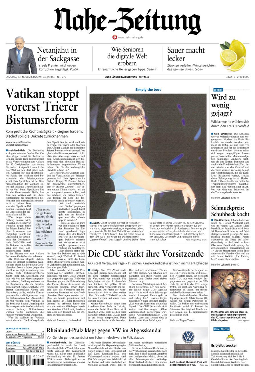 Nahe-Zeitung vom Samstag, 23.11.2019