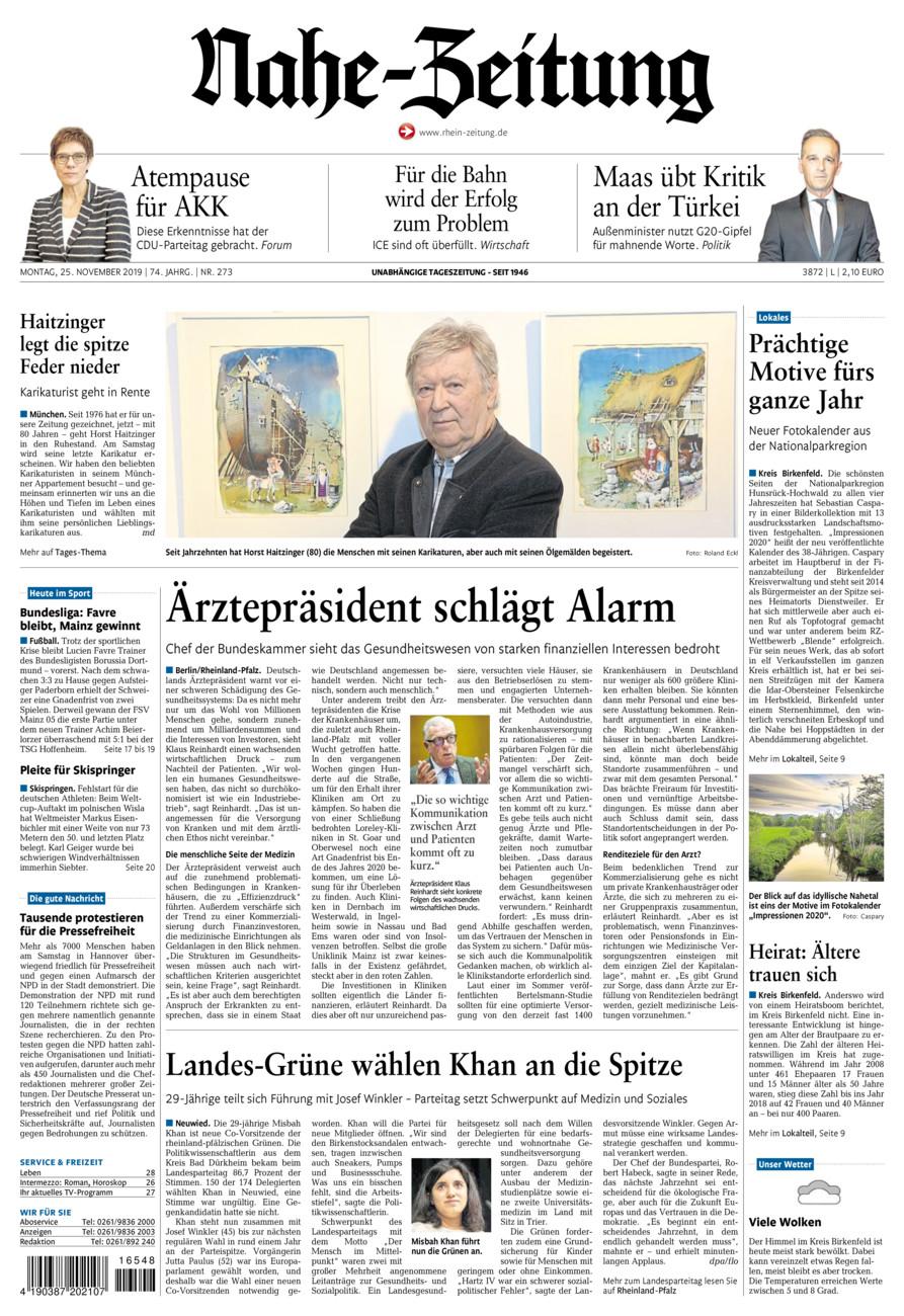 Nahe-Zeitung vom Montag, 25.11.2019