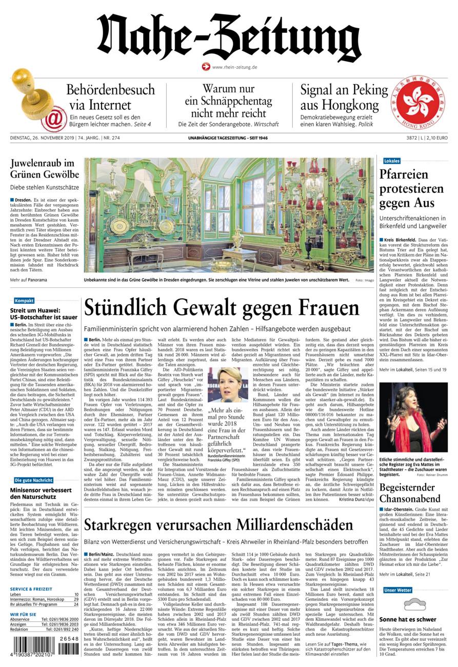 Nahe-Zeitung vom Dienstag, 26.11.2019