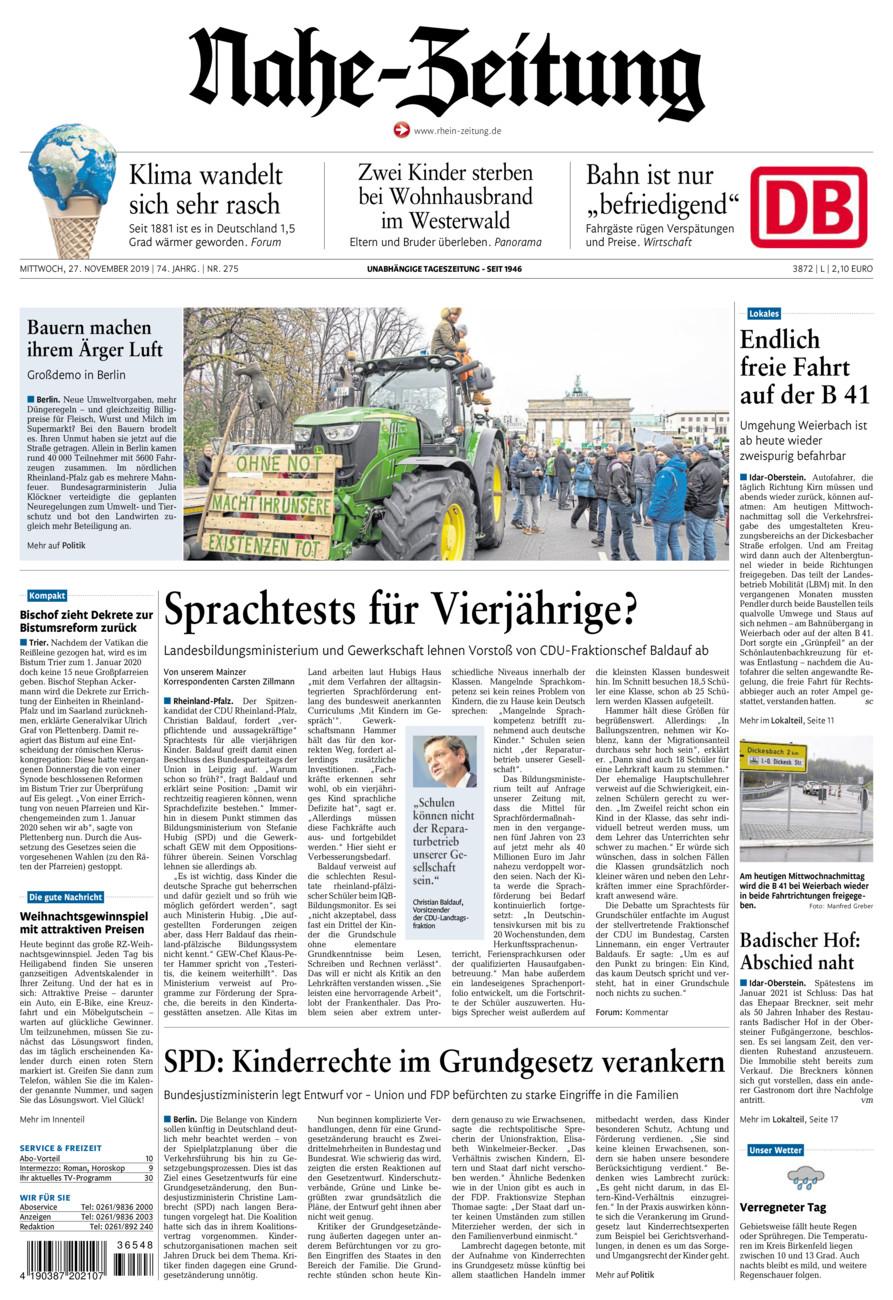 Nahe-Zeitung vom Mittwoch, 27.11.2019