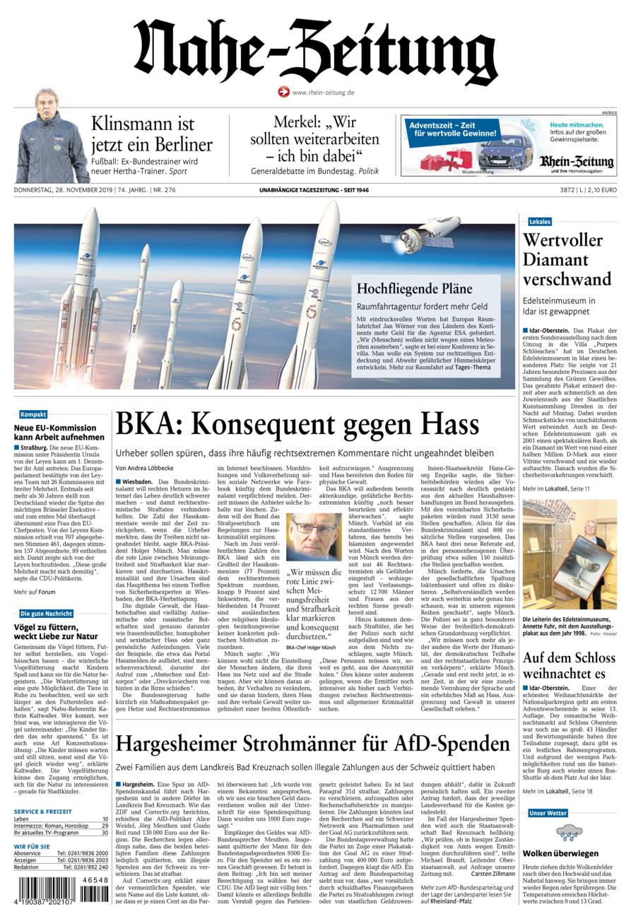 Nahe-Zeitung vom Donnerstag, 28.11.2019