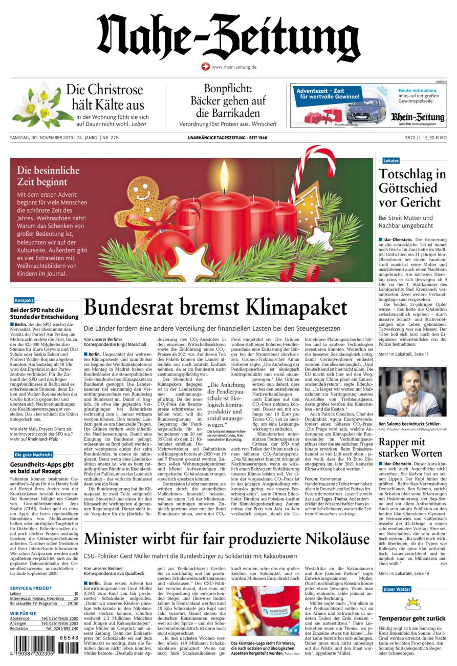 Nahe-Zeitung vom Samstag, 30.11.2019