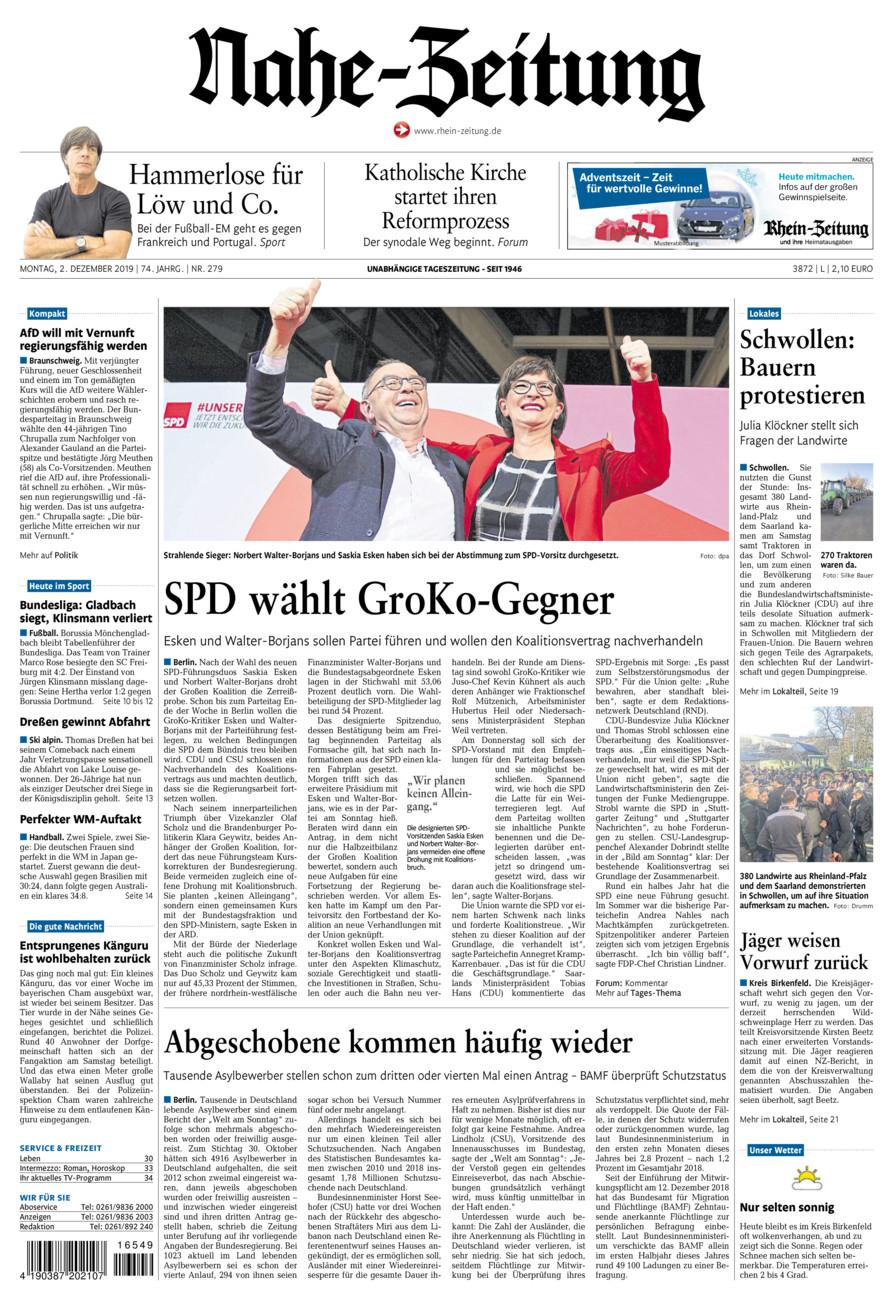 Nahe-Zeitung vom Montag, 02.12.2019