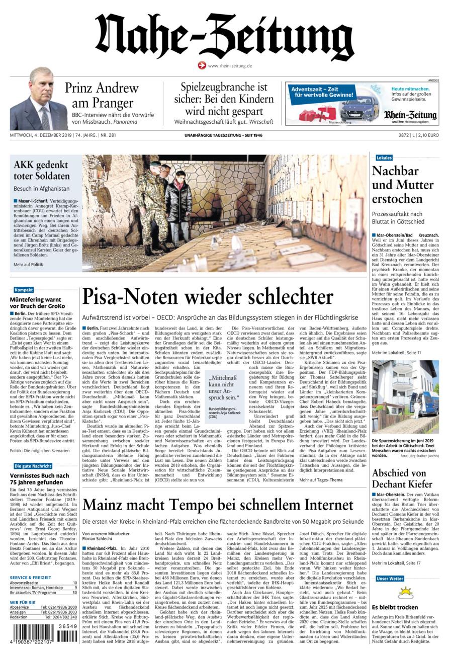 Nahe-Zeitung vom Mittwoch, 04.12.2019