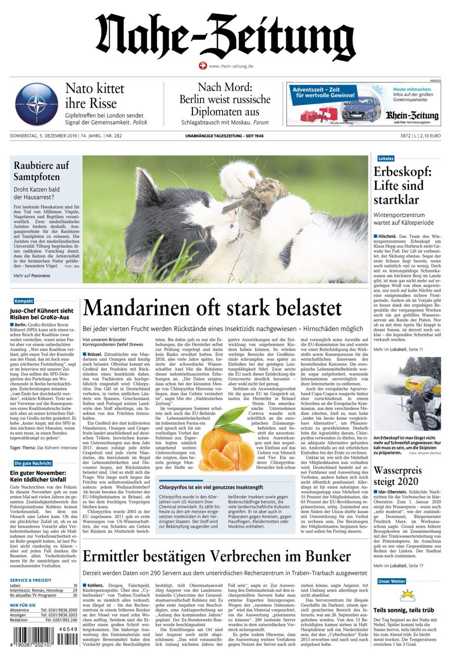 Nahe-Zeitung vom Donnerstag, 05.12.2019