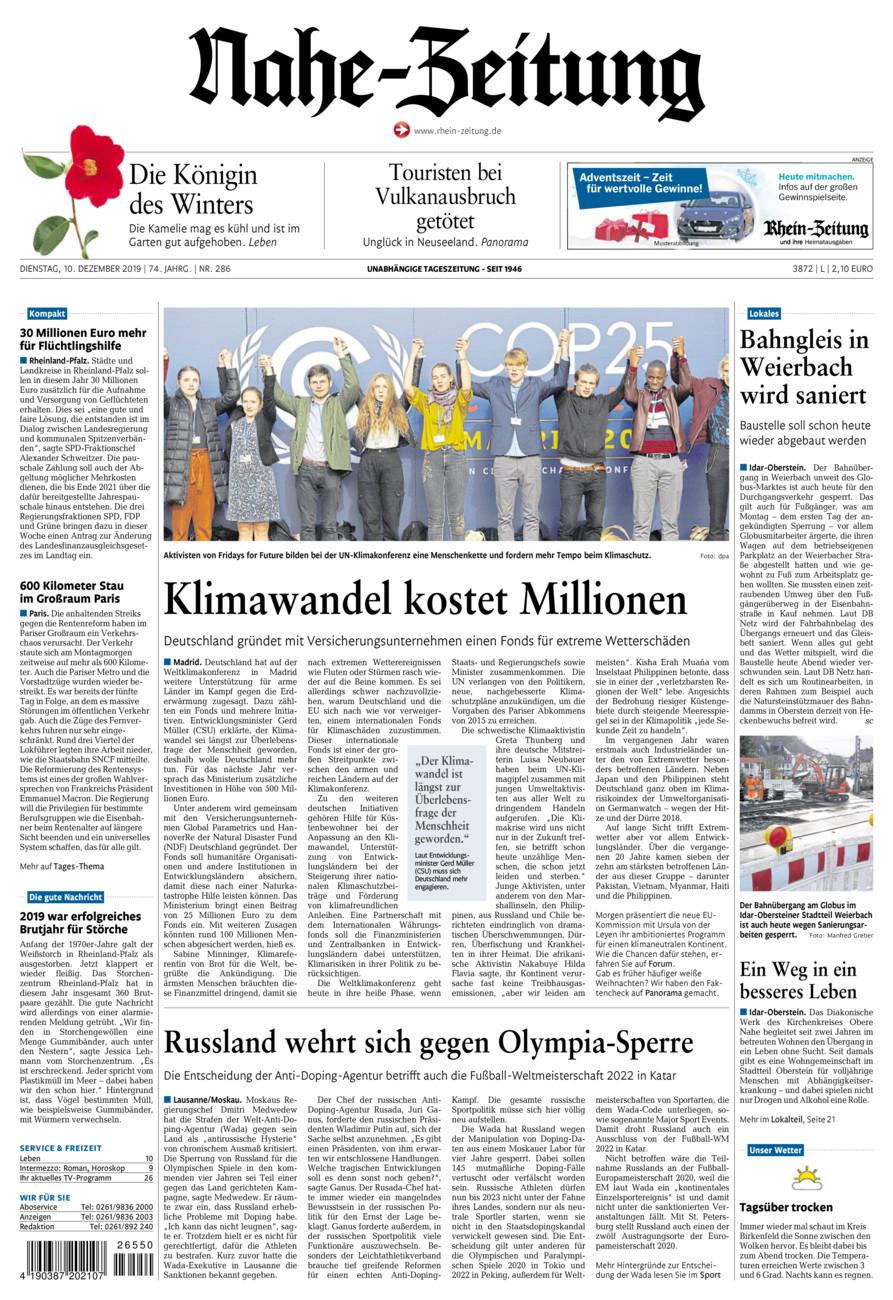 Nahe-Zeitung vom Dienstag, 10.12.2019