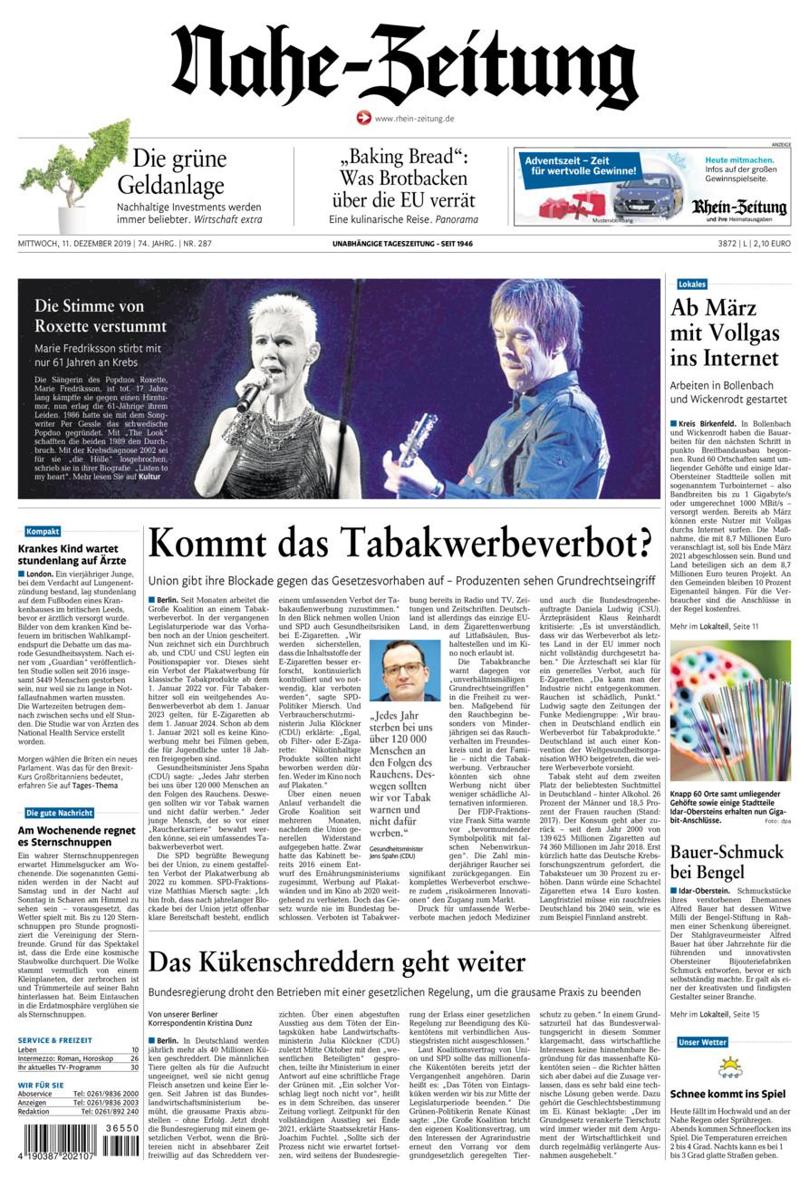 Nahe-Zeitung vom Mittwoch, 11.12.2019