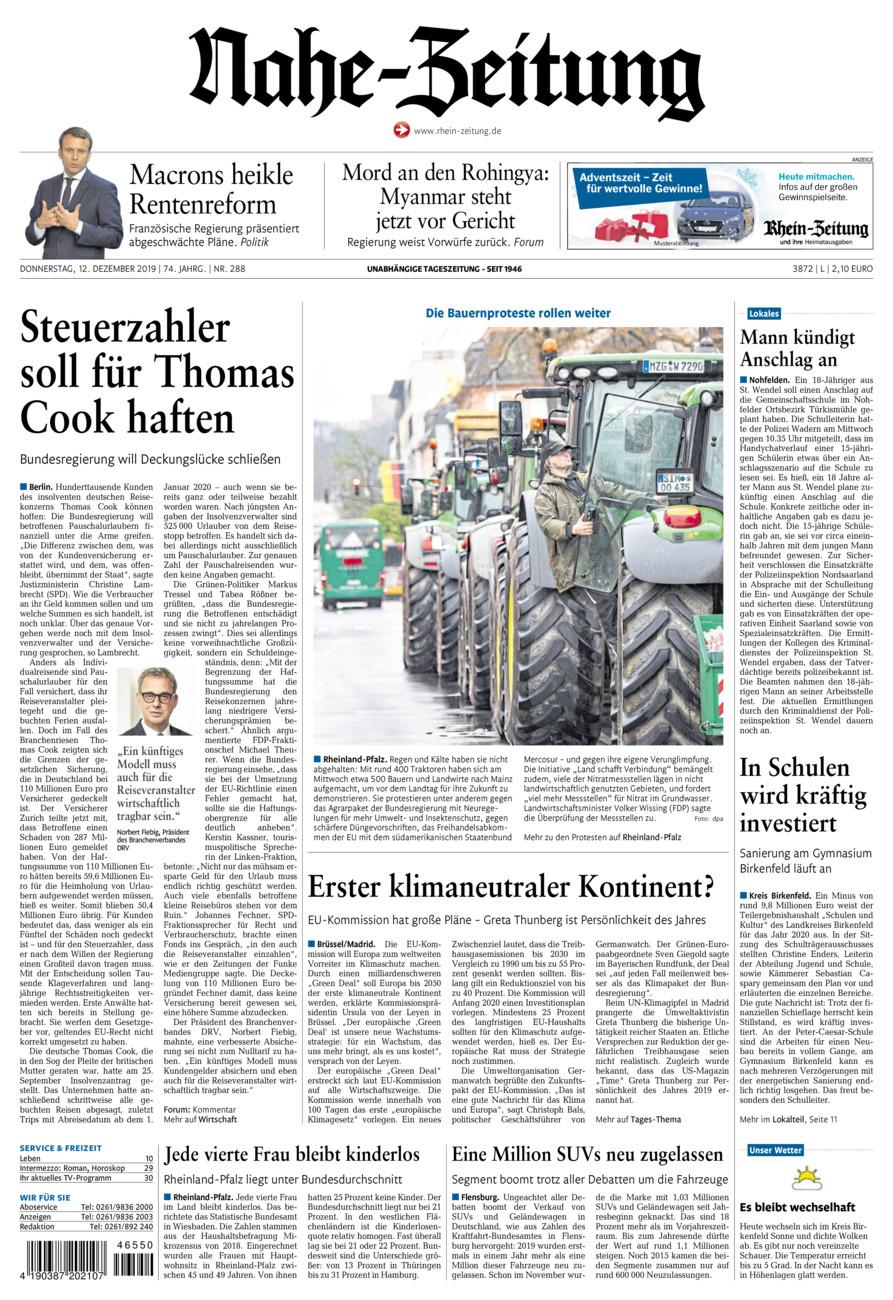 Nahe-Zeitung vom Donnerstag, 12.12.2019