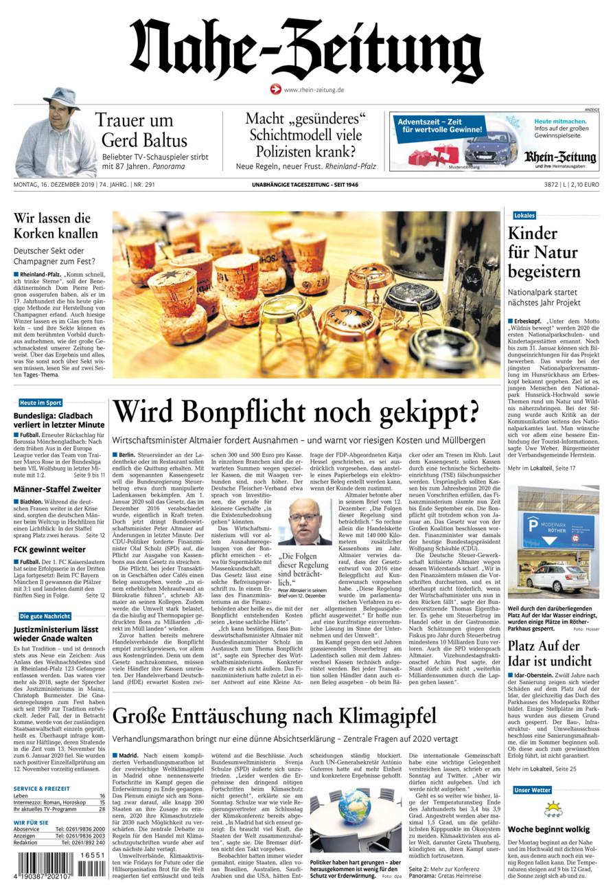 Nahe-Zeitung vom Montag, 16.12.2019