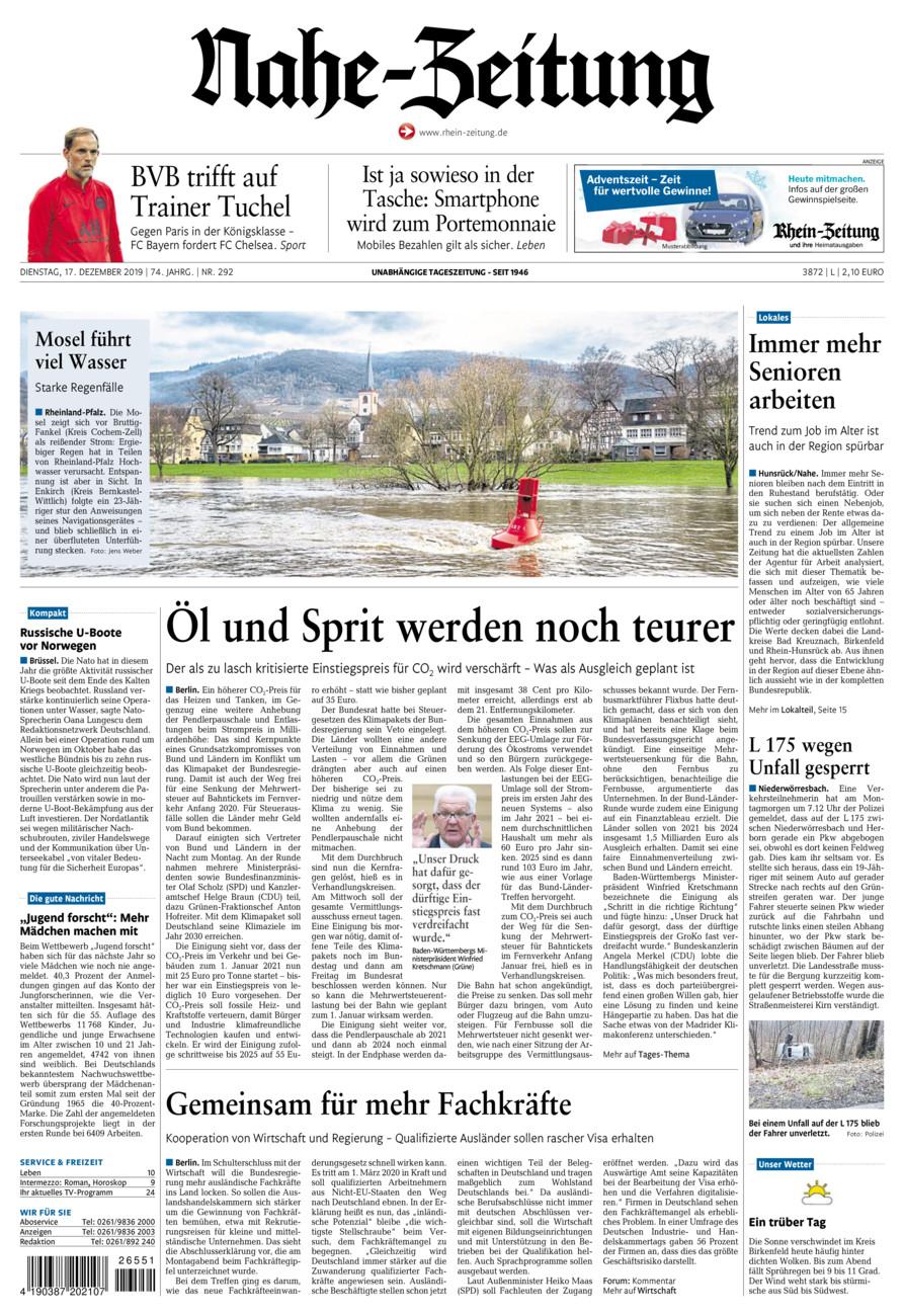 Nahe-Zeitung vom Dienstag, 17.12.2019