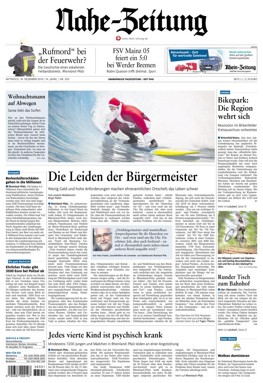 Nahe-Zeitung vom Mittwoch, 18.12.2019