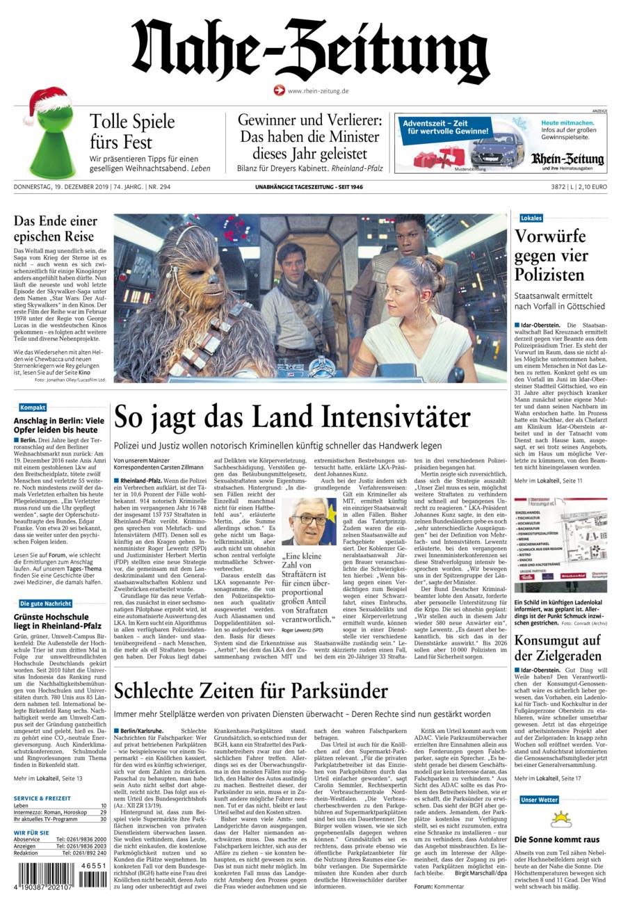 Nahe-Zeitung vom Donnerstag, 19.12.2019