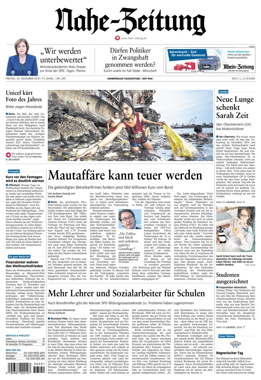 Nahe-Zeitung vom Freitag, 20.12.2019