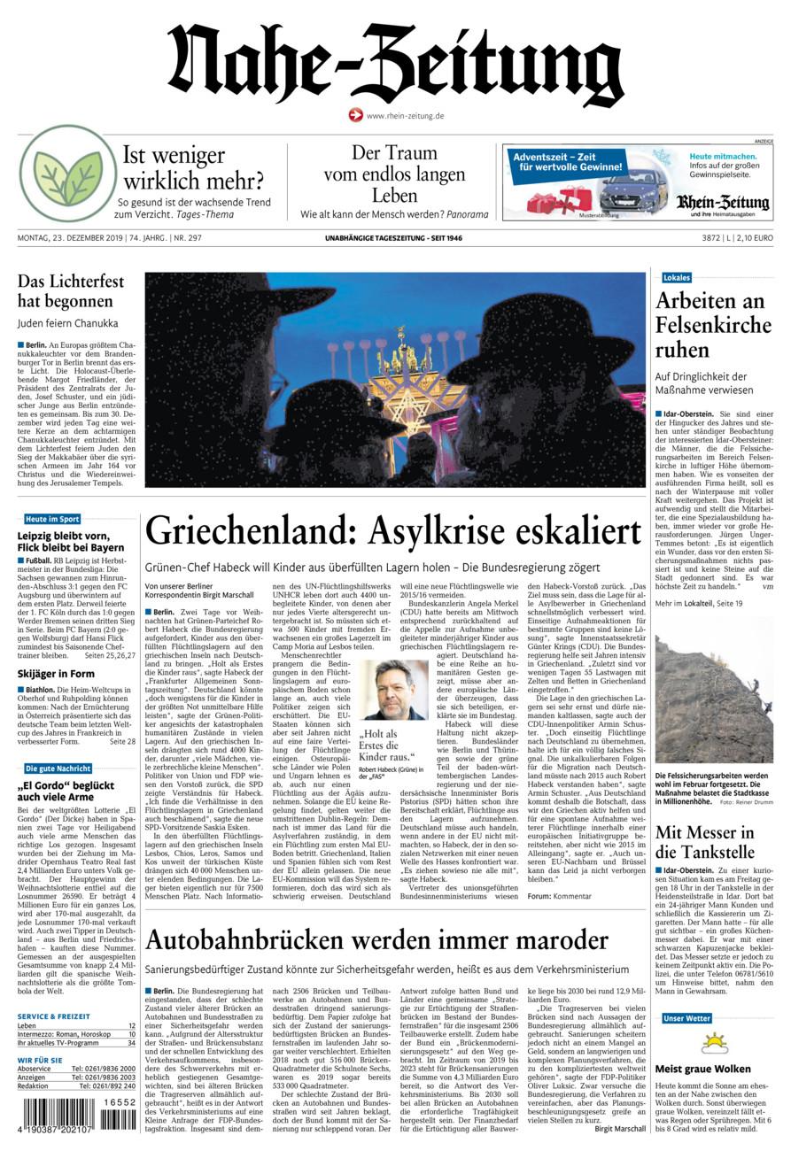 Nahe-Zeitung vom Montag, 23.12.2019