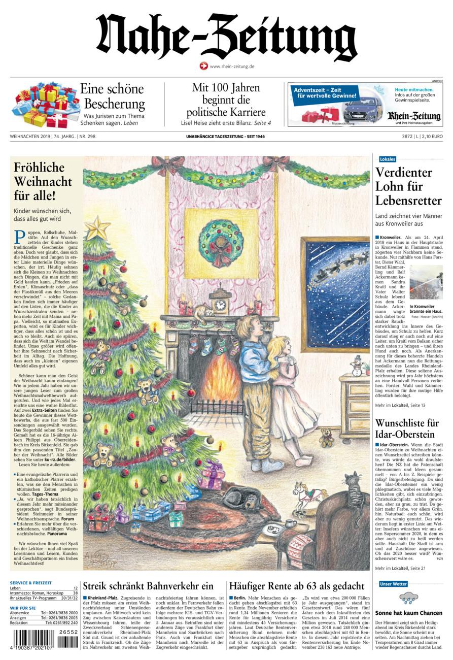 Nahe-Zeitung vom Dienstag, 24.12.2019