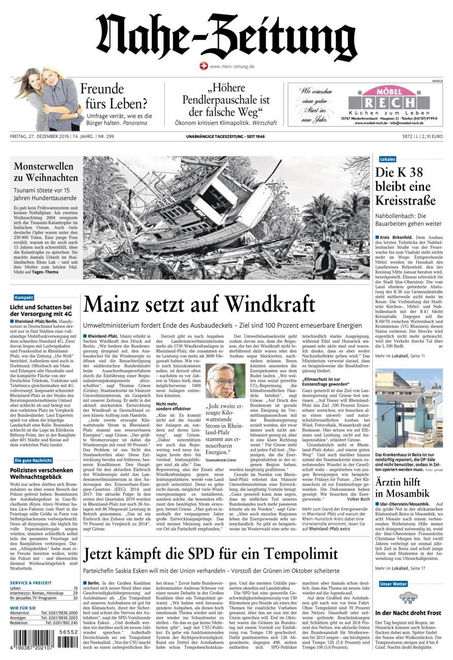 Nahe-Zeitung vom Freitag, 27.12.2019