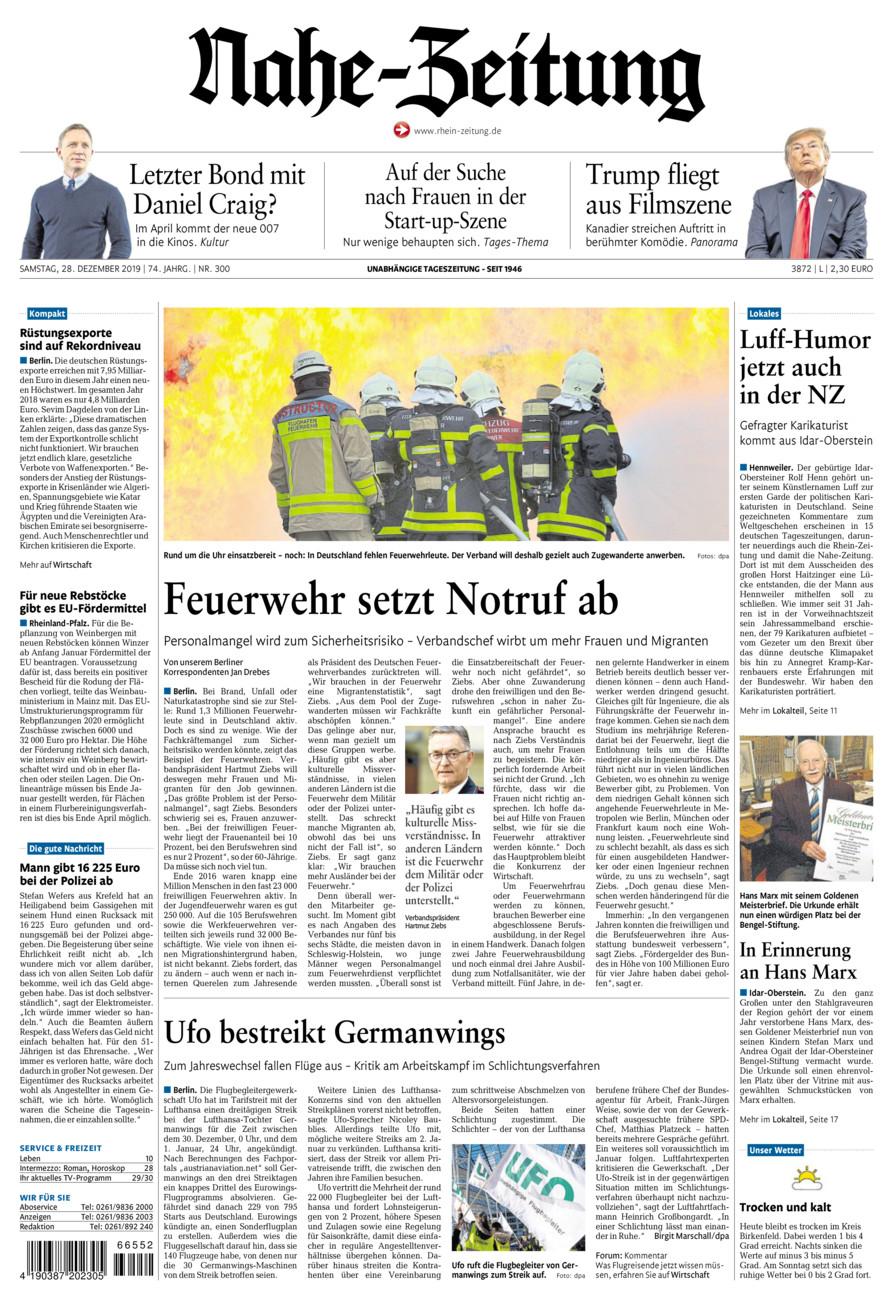 Nahe-Zeitung vom Samstag, 28.12.2019