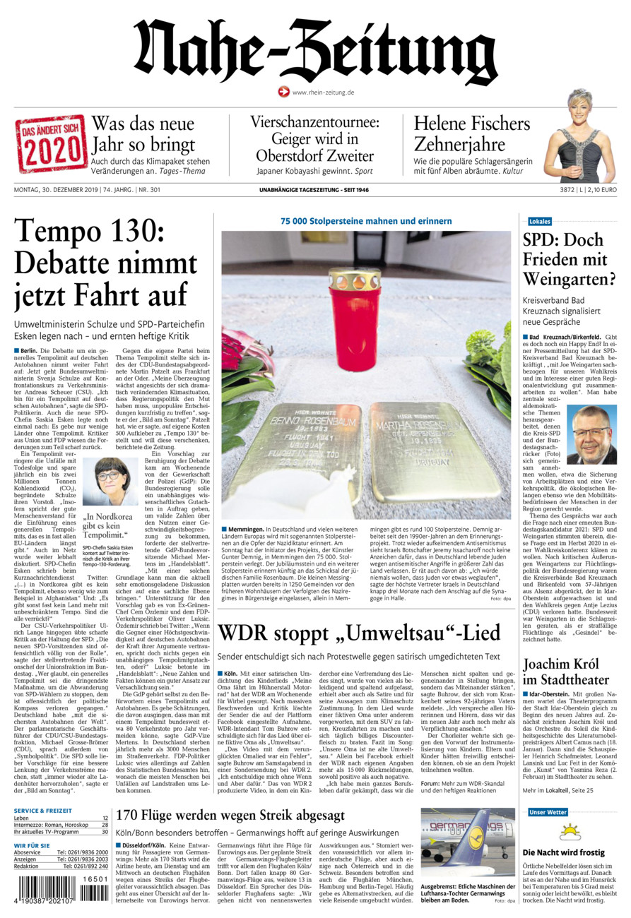Nahe-Zeitung vom Montag, 30.12.2019