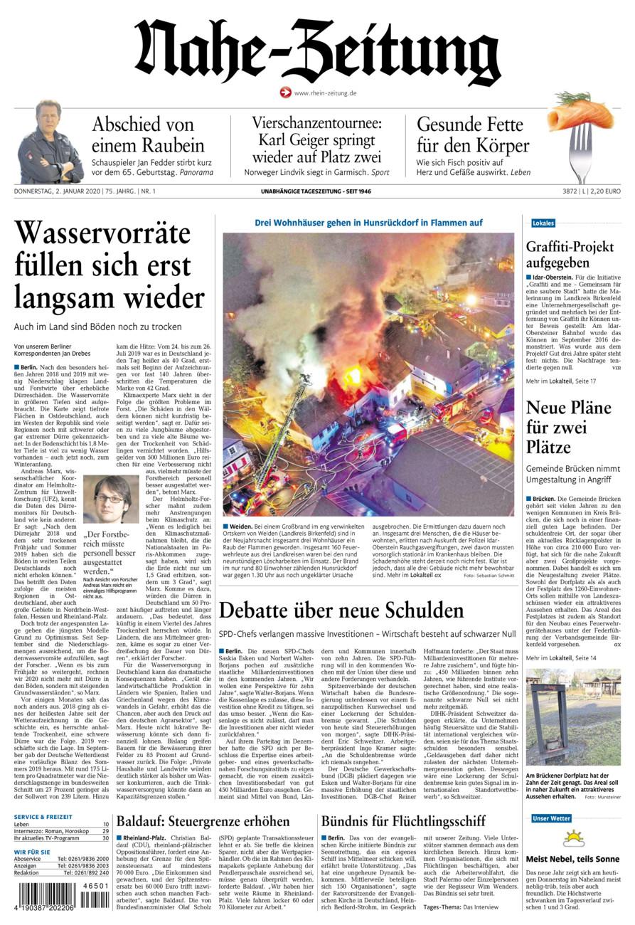 Nahe-Zeitung vom Donnerstag, 02.01.2020