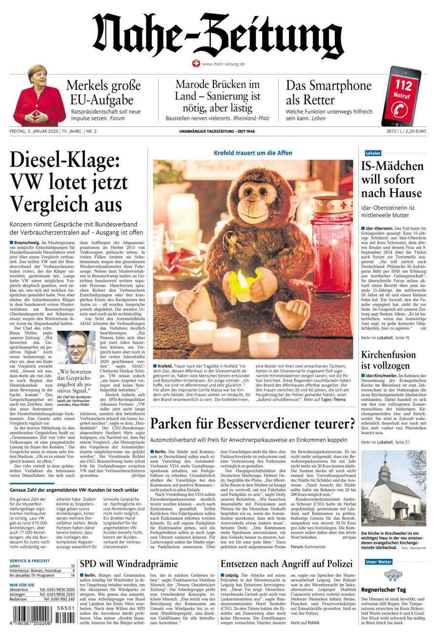 Nahe-Zeitung vom Freitag, 03.01.2020