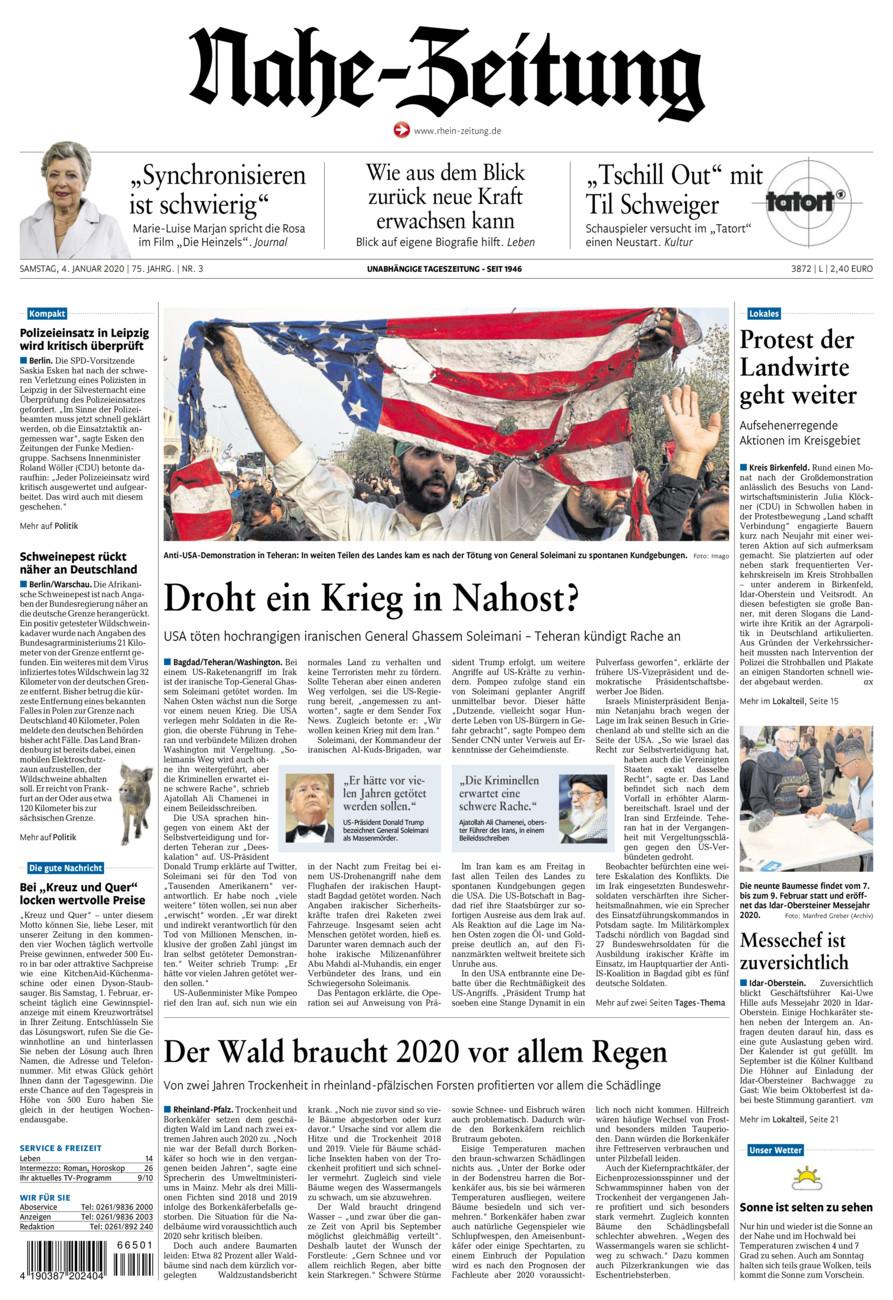 Nahe-Zeitung vom Samstag, 04.01.2020
