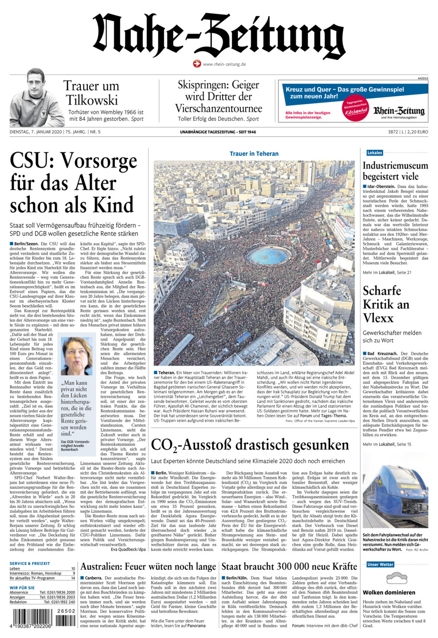 Nahe-Zeitung vom Dienstag, 07.01.2020