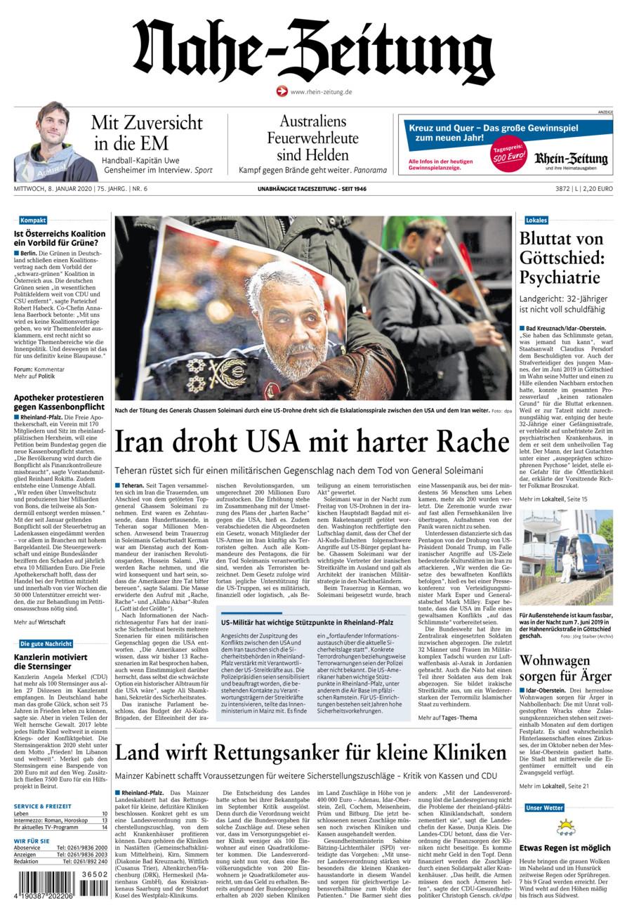 Nahe-Zeitung vom Mittwoch, 08.01.2020