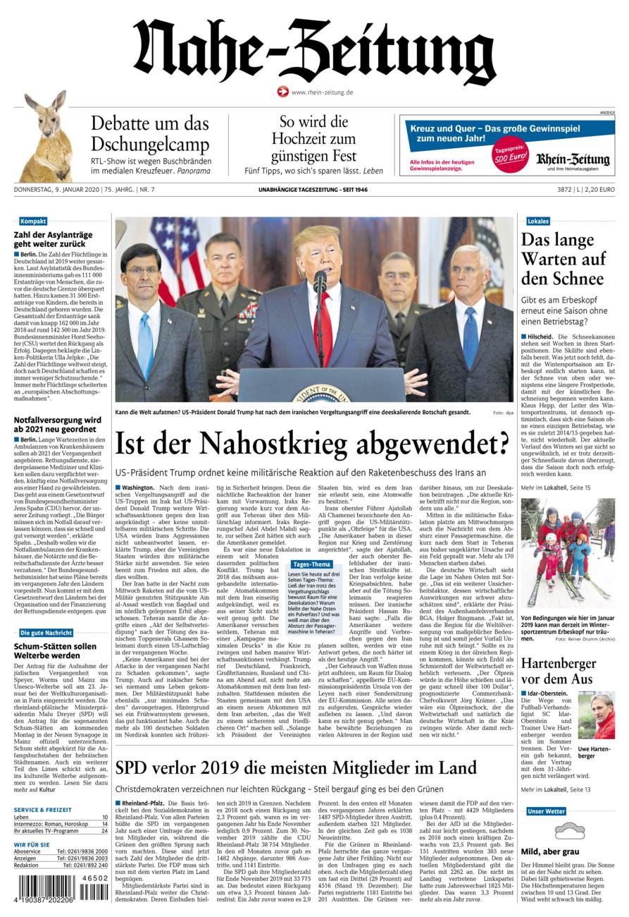 Nahe-Zeitung vom Donnerstag, 09.01.2020