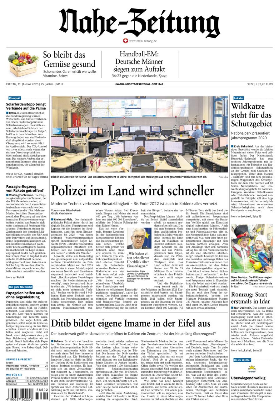 Nahe-Zeitung vom Freitag, 10.01.2020