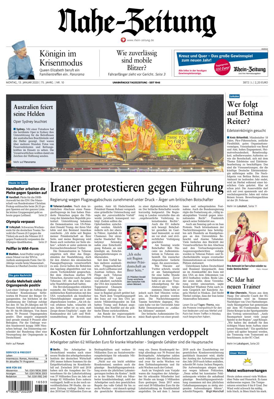 Nahe-Zeitung vom Montag, 13.01.2020