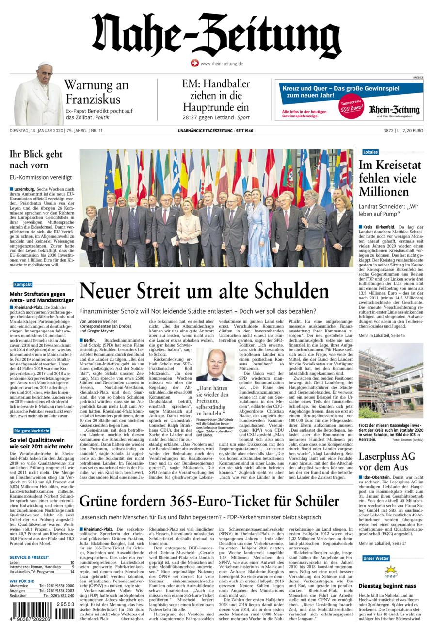 Nahe-Zeitung vom Dienstag, 14.01.2020