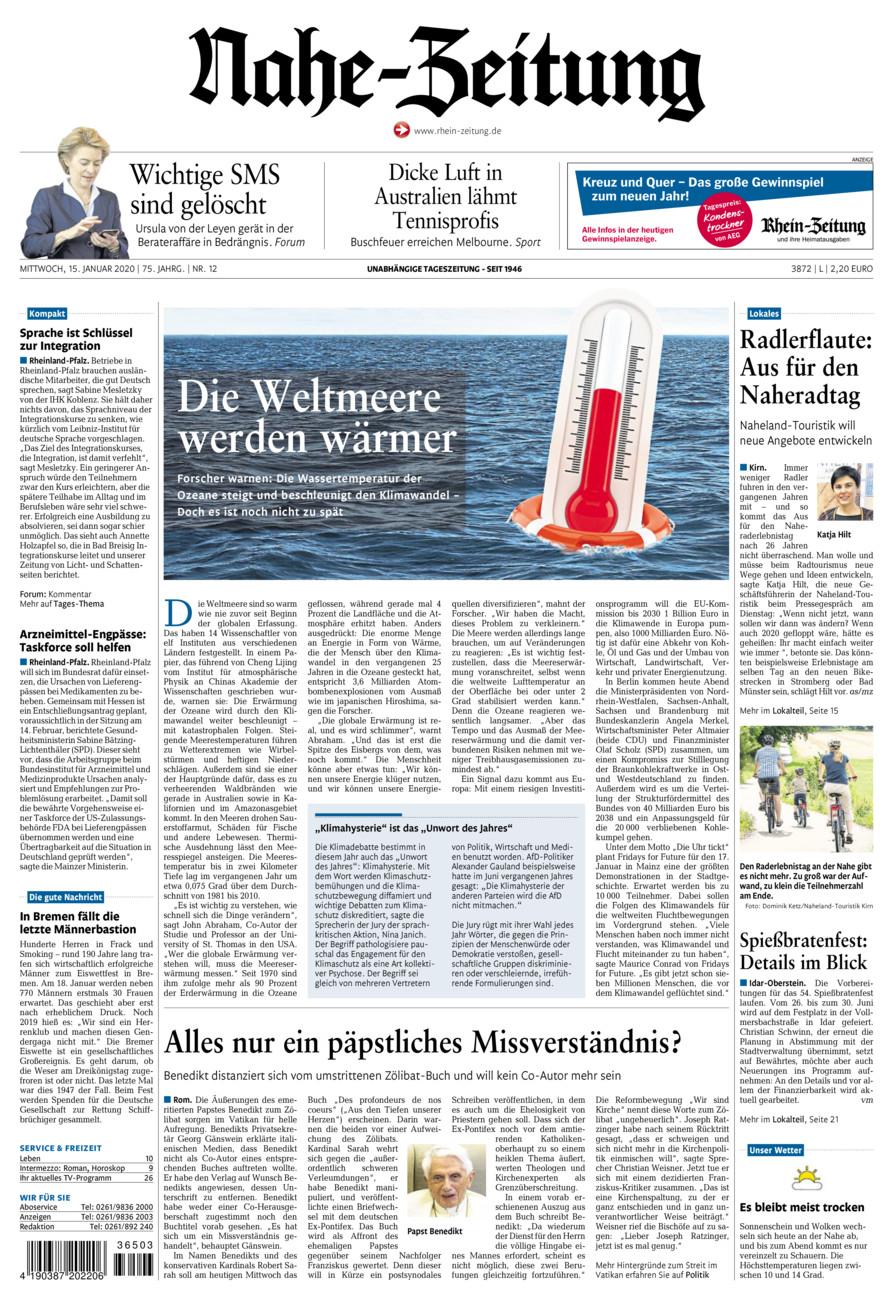 Nahe-Zeitung vom Mittwoch, 15.01.2020