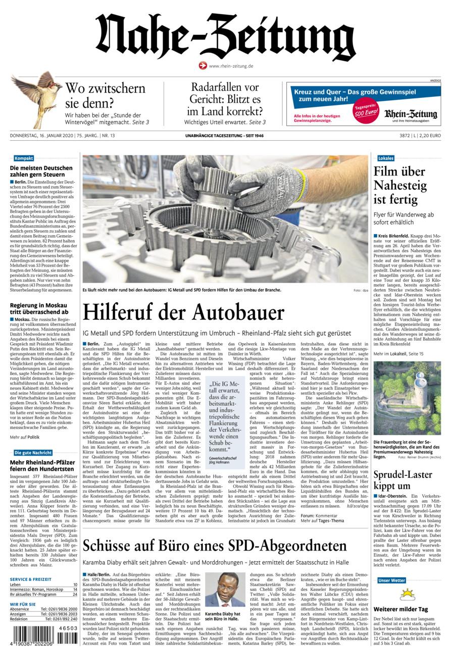 Nahe-Zeitung vom Donnerstag, 16.01.2020