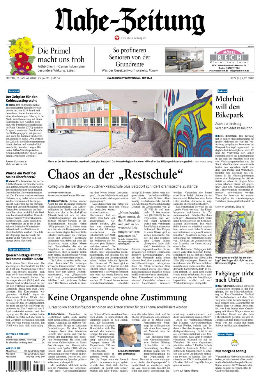 Nahe-Zeitung vom Freitag, 17.01.2020