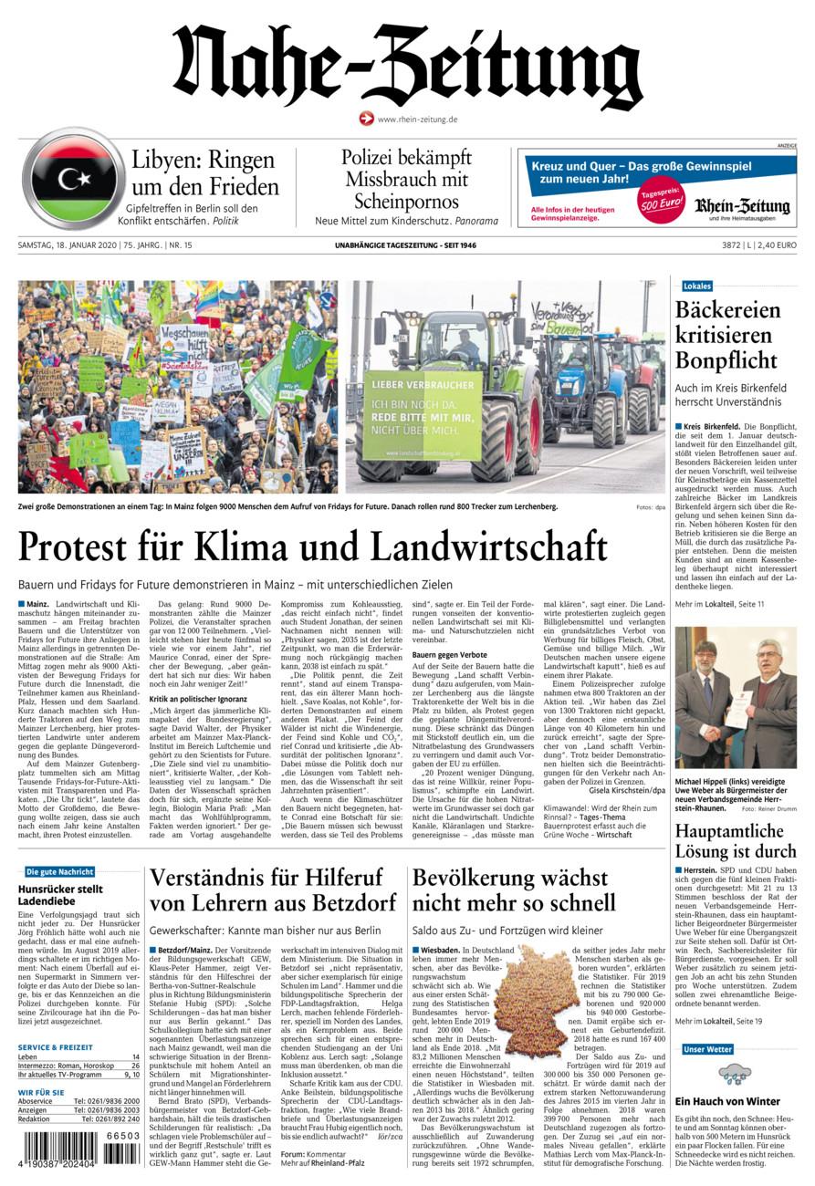Nahe-Zeitung vom Samstag, 18.01.2020