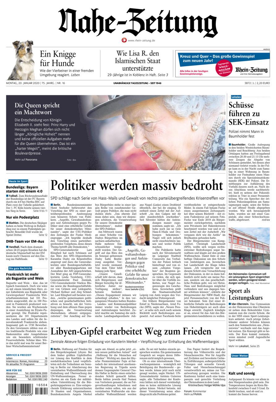 Nahe-Zeitung vom Montag, 20.01.2020