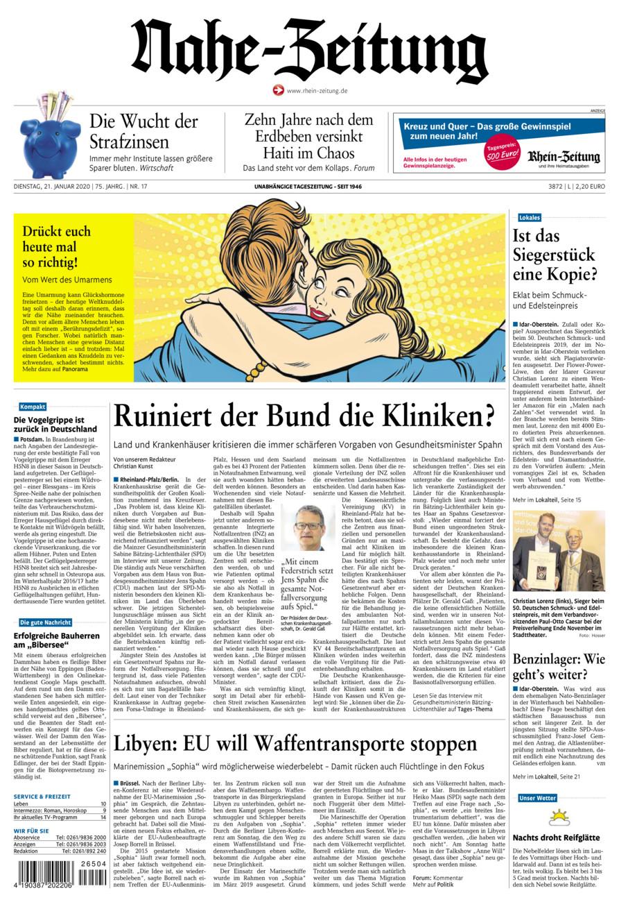 Nahe-Zeitung vom Dienstag, 21.01.2020