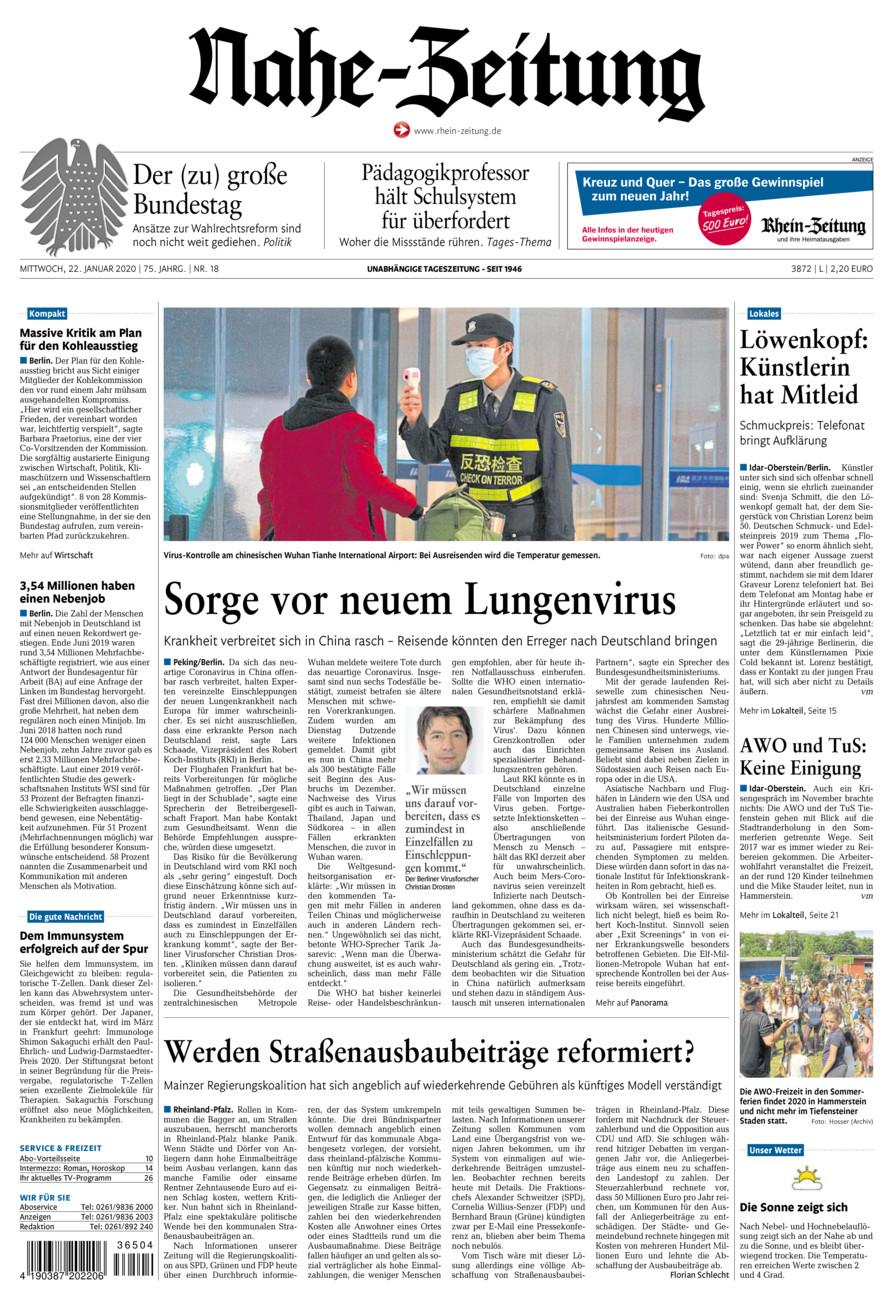 Nahe-Zeitung vom Mittwoch, 22.01.2020