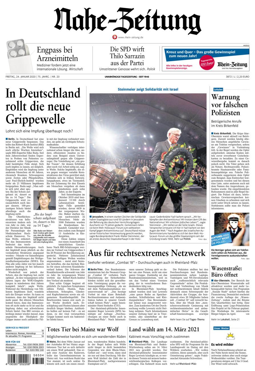 Nahe-Zeitung vom Freitag, 24.01.2020