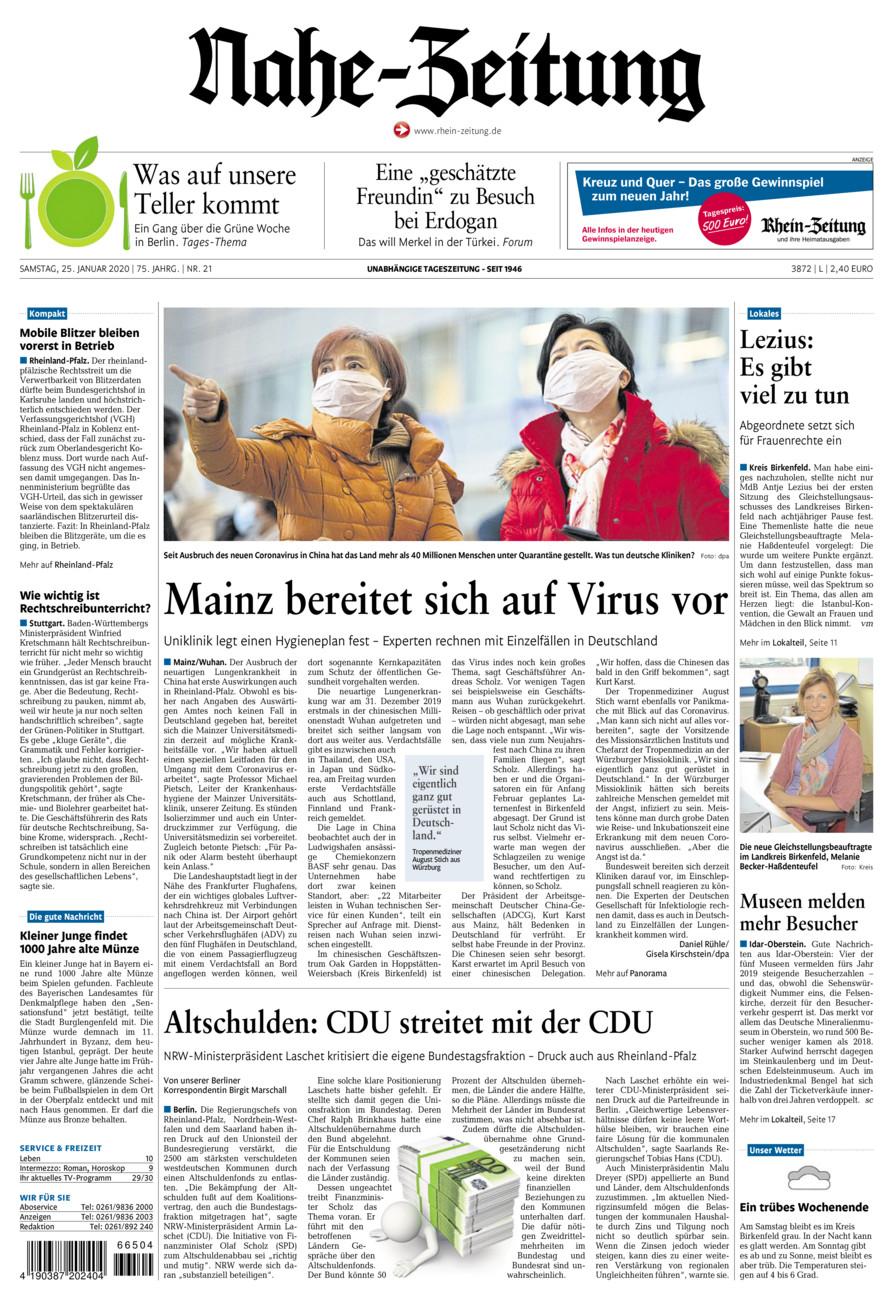 Nahe-Zeitung vom Samstag, 25.01.2020