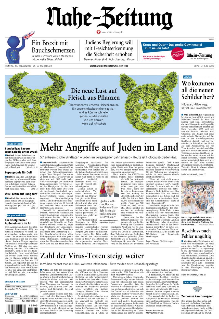 Nahe-Zeitung vom Montag, 27.01.2020