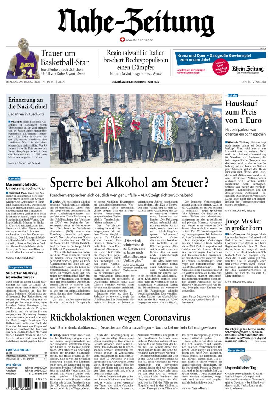 Nahe-Zeitung vom Dienstag, 28.01.2020