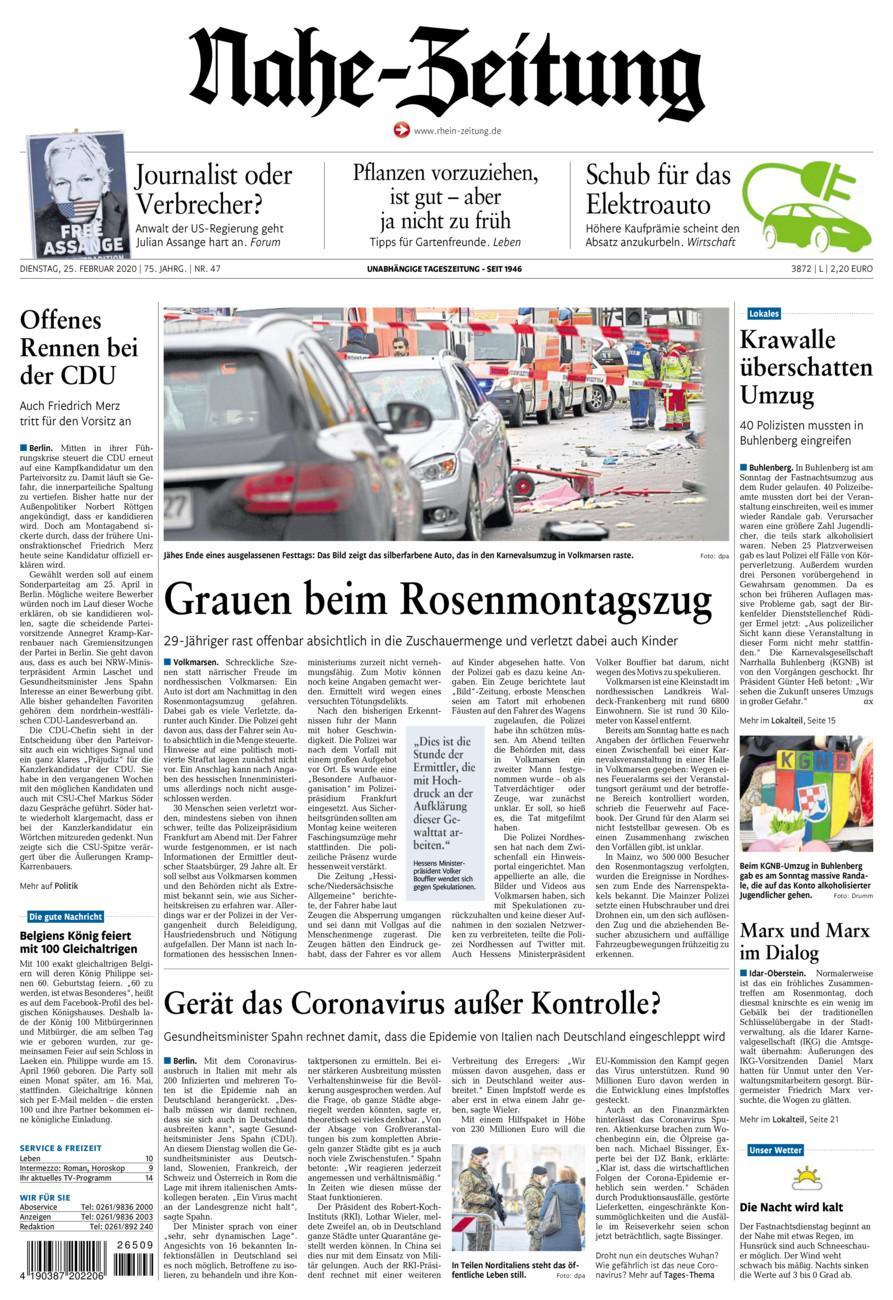 Nahe-Zeitung vom Dienstag, 25.02.2020